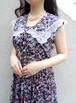 Floral sleeveless dress with sailor collar/セーラーカラーの花柄ノースリーブワンピース