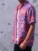 1970's ペイズリー柄S/Sシャツ 赤×青×白 表記(M) バンダナ柄 トリコロール