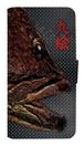 魚拓スマホケース【九絵(クエ)・手帳型・背景:黒・送料無料】