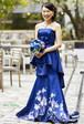 マーメイドラインドレス 和柄 花柄プリント セパレートドレス ブルー お色直し 演奏会 発表会