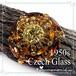 チェコガラス☆レモンイエロー & アンバー ラインストーン ヴィンテージ 星型 クラスター ブローチ 1950s