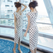 【dress】気質溢れる エレガントドット柄スリットデートワンピース人気デザイン