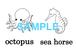Sea Animals 絵+英単語 フラッシュカードデータ(白黒)