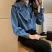 デニム シャツ 長袖 無地 ゆったり 体型カバー 大きいサイズ フリル カジュアル 春 P3270