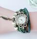 緑グリーン レザーブレスレット 時計付き
