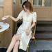 【dress】エレガント気質満点レース切り替えチュニック3色デートワンピース M-0413