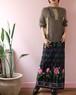 checked rose print long skirt