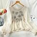 レディース オシャレ 新作 ラウンドネック 長袖 レース 刺繍 花柄 可愛い Tシャツ・トップス