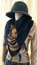 SCF-002 Sequined wool scarf スパンコールジッパー付きウールスカーフ