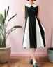 60s Black & white flare dress