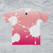 S-ピンマイクTシャツ/メンズ*インクグラデーションピンク【手描きオリジナルデザイン】