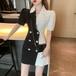 【dress】おすすめファッションパフスリーブデートワンピースベルト付着瘦せ