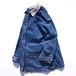 1990's [SUN BELT] 襟・袖裏コーデュロイ デニムカバーオール ブルー×アイボリー 表記(W's M)