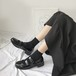 レディース ローファー 革靴 ダブルストラップ ラウンドトゥ ローヒール 厚底 合皮 革 エナメル 黒 ブラック 春秋 通勤 通学 学生 個性的 韓国
