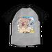 <ラグランTシャツ 杢グレー×ブラック>両面印刷 お風呂みーちゃん