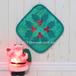 Green X'mas 緑と赤のクリスマスカラー、ハワイアンキルトミニタペストリーです。モチーフはコーヒーの木。手染めの布が美しいです。ハワイアンキルト経験者さんへ