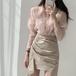 【set】美人度アップファッション2点セットトップス+不規則 イレギュラースカート2色