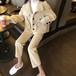 セットアップ ウールジャケット + ウールパンツ 韓国ファッション レディース ショートコート ブルゾン ワイドパンツ 9分丈 ウール DTC-607091771764