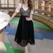 【dress】美人度アップファッションチュニック切り替えデートワンピースゆったり