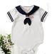 ベイビーユニセックスセーラーボディースーツワンピースロンパースブルー/ホワイト服幼児服