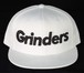 GRINDERS logo snap back CAP (white x black)