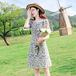 【dress】美人度アップスウィートパフスリーブチュニック花柄ワンピース M-0347