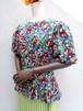 Flower pattern puff sleeve silk blouse/花柄シルクブラウス