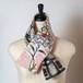 銘仙×リネン刺繍の小さな襟巻き311/八月のうさぎ リバーシブル 着物リメイク 古布 和布 パッチワーク ストール マフラー ネックウォーマー