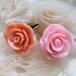 オレンジとピンクの薔薇イヤリング
