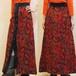 S~Mサイズ【アメリカ製古着】1970年代ヴィンテージ◆赤×緑のジャカード織ペイズリー◆マキシ丈(ロング)スカート