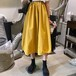 【ボトムス】Aライン無地カジュアルハイウエストスカート21862279