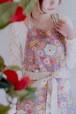 【結婚祝い、誕生日に♪】和調花柄 着物風エプロン パープル