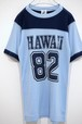 1970's POLY TEES HAWAII バイカラーフットボールTシャツ 水色×紺 実寸(XS位) ハワイ