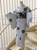 今日実オリジナル日本製浴衣 菊重ーー紺✖︎白 送料無料