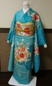 鮮やかな浅葱色に刺繍と絞り染め 振袖