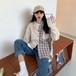 オシャレ 韓国ファッション カジュアル POLOネック 長袖 チェック柄 シャツ・トップス