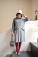 vintage astrakhan like fake fur gray knit dress