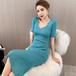 【dress】気質あふれVネック透かし彫り薄手ニットワンピース高級感