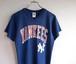 1980's USA製 [LOGO 7] N.Y. YANKEES フットボール型Tシャツ ネイビー 表記(M) ニューヨークヤンキース