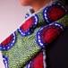アフリカンプリント ネックウォーマー red balls in green