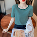 【tops】合わせやすいカジュアル大好評ラウンドネックストライプ柄Tシャツ3色
