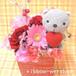 ミルクBOXフラワーアレンジメント(生花)&ハッピーネコ・マスコットセット(グレー)FL-AR-903