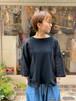 WOMENS:tsukinowa【ツキノワ】リネンと接結の身巾たっぷりTee(ブラック/FREEサイズ)