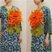 オリジナルハンドメイド【mesadu】羊毛フェルト◆オレンジの大きなお花のコサージュ