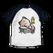 <ラグランTシャツ ホワイト×ネイビー>両面印刷 おやすみーちゃん