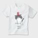 帽子をかぶったハナペちゃん(灰はちわれ) キッズTシャツ 白  キッズ70/80/90