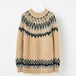 MOHAIR NORDIC KNIT SWEATER BEIGE