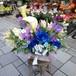 ブルーローズと春の花のアレンジメント