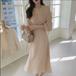 【dress】気質溢れる エレガントVネック着瘦せフェミニンデートワンピース