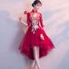 フィッシュテール チャイナ風 ドレス 刺繍 六分袖 膝丈 結婚式 お呼ばれ パーティ(F037)